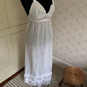 White Cotton Linen Maxi Convertible Dress